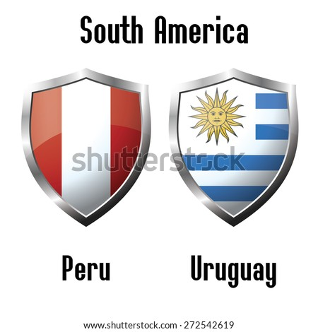 Peru and Uruguay  flag icons theme, vector - stock vector