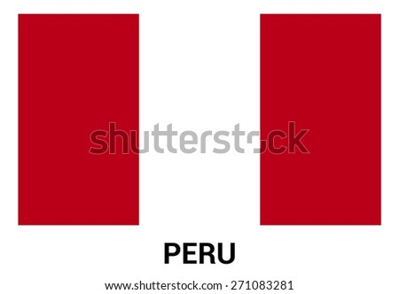 Peru flag isolated vector in official colors and Proportion Correctly. country's name label in bottom - stock vector