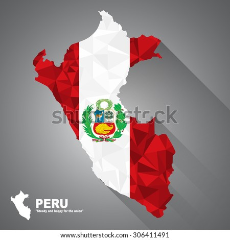 Peru flag overlay on Peru map with polygonal and long tail shadow style (EPS10 art vector) - stock vector