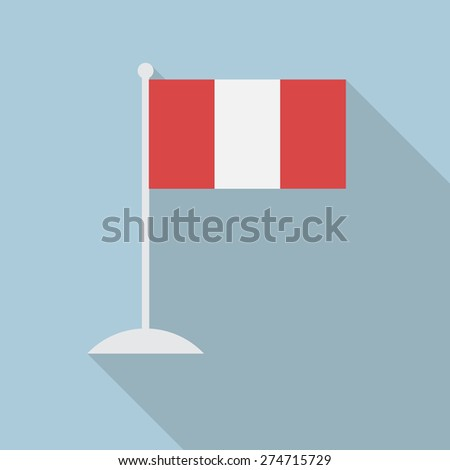 Peru flag with flagpole flat icon with long shadow. Vector illustration EPS10