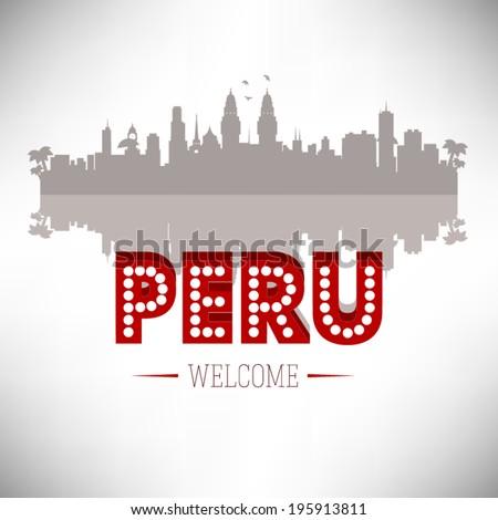 Peru Greeting card vector design. - stock vector