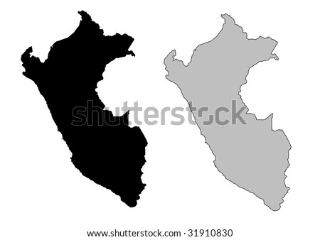 Peru map. Black and white. Mercator projection. - stock vector