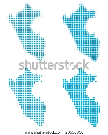 Peru map mosaic set. Isolated on white background. - stock vector