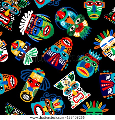 Aztec mask stock images royalty free images vectors for Aztec mask template