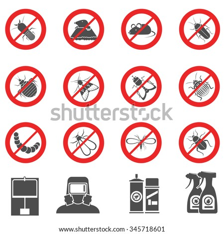 Pest and harmful insects control stop signs set isolated vector illustration