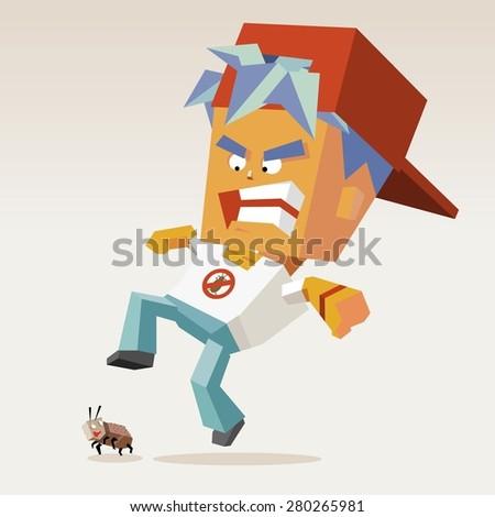 pest control catcher.vector illustration - stock vector