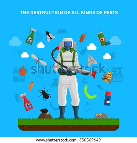 Pest control concept with insects exterminator silhouette flat vector illustration - stock vector