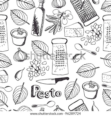 Pesto seamless pattern - stock vector