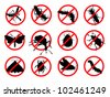 Pests vector silhouettes isolated. Insect repellent emblem - stock vector