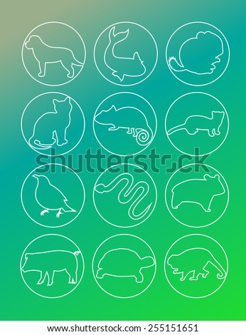 Pet animals line drawings buttons. - stock vector