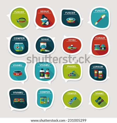 Pet bubble speech flat banner design background set, eps10