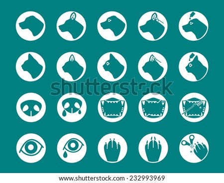 pet care icons - stock vector
