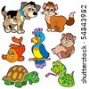 Pet cartoons collection - vector illustration. - stock photo