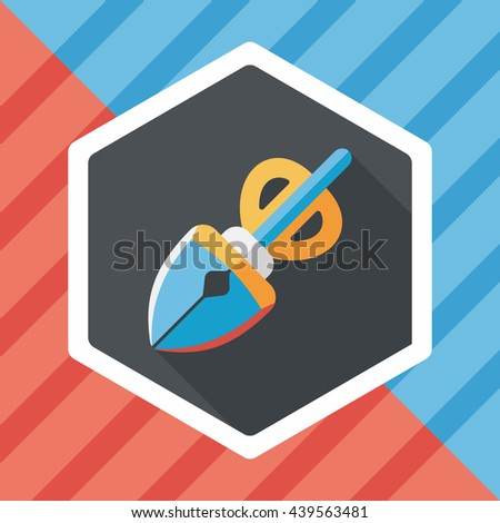 Pet dog pick up poo equipment flat icon with long shadow,eps10 - stock vector