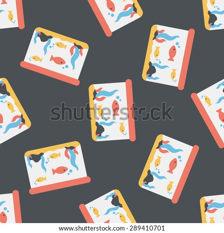 Pet fish flat icon,eps10 seamless pattern background - stock vector
