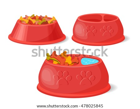 Pet food in bowl.. Set Vector Collection