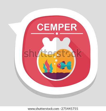 Pet goldfish bowl flat icon with long shadow,eps10 - stock vector
