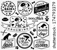 Pet Hair Salon and Store Badges and Labels in Vintage Style. Vector Design Elements - stock vector