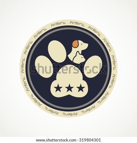 Pet hotel circle logo or icon - stock vector