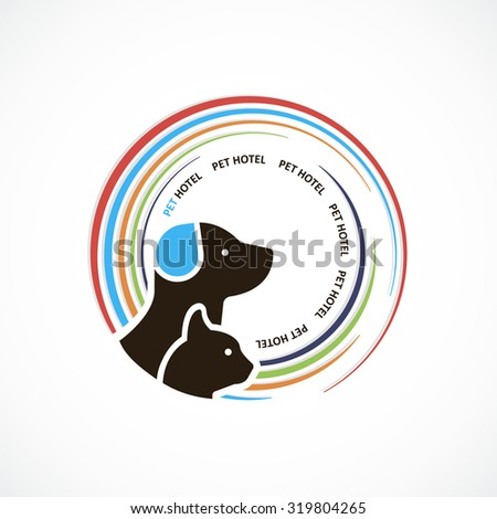 Pet hotel colorful dog and cat logo abstract design art
