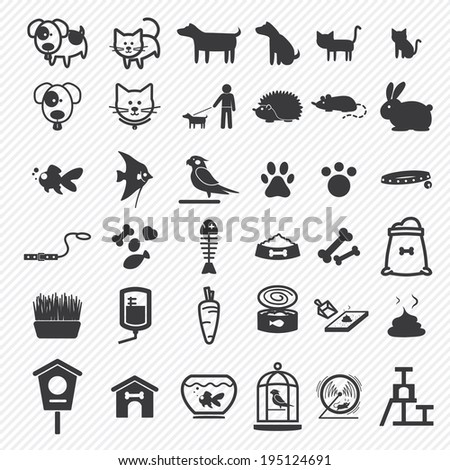Pet icons set. illustration eps10 - stock vector