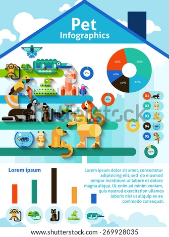 Pet infographics set with domestic animals reptiles and birds and charts vector illustration - stock vector