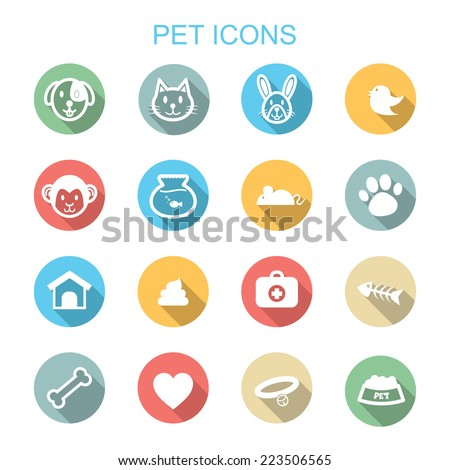 pet long shadow icons, flat vector symbols - stock vector