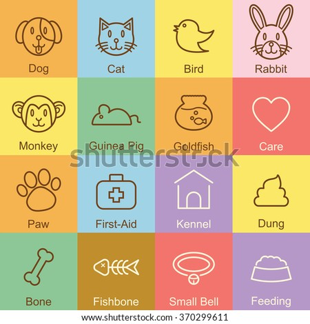 pet outline design, vector infographic elements - stock vector