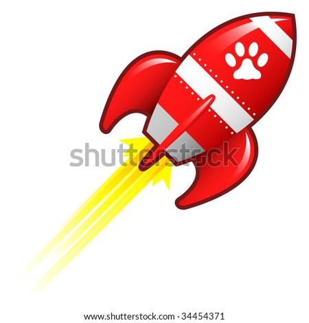 Pet paw print icon on red retro rocket ship illustration - stock vector