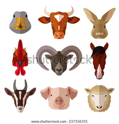 Pet portrait flat icon set with cow goose pig goat isolated vector illustration - stock vector