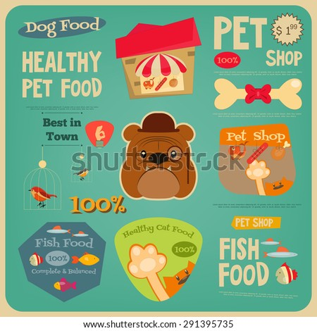 Pet Shop Card. Flat Design Style. Advertising Pet Food. Vector Illustration. - stock vector