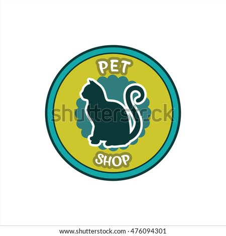 pet shop logo template, vector badge illustration concept for animal business services
