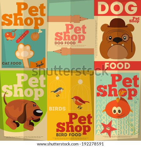 Pet Shop Posters Set in Retro Style. Vector Illustration. - stock vector