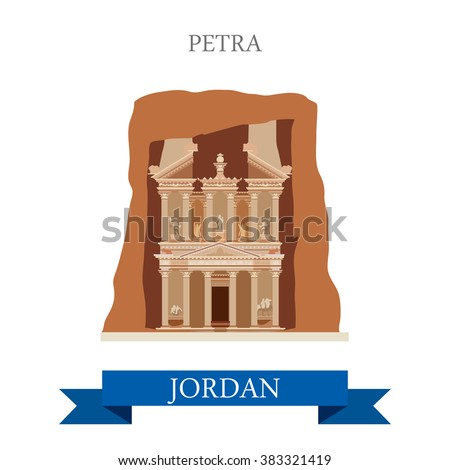 Petra in Jordan. Flat cartoon style historic sight showplace attraction web site vector illustration. World countries cities vacation travel sightseeing Asia collection. - stock vector