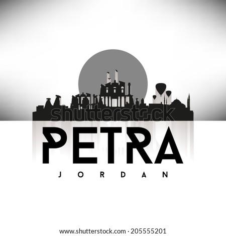 Petra Jordan black skyline silhouette design, vector illustration. - stock vector
