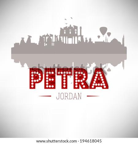 Petra Jordan skyline silhouette design, vector illustration. - stock vector