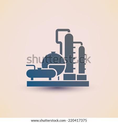 petrochemical plant symbol, refinery oil distillation icon - stock vector