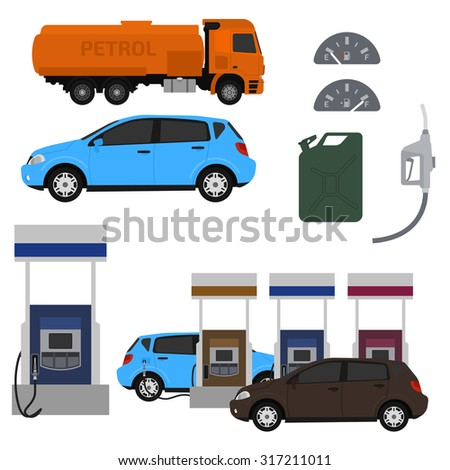 Petrol station set vector design. Flat illustration with cars. Fuel canister. - stock vector