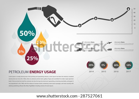 petroleum energy usage infographic in vector eps10 - stock vector