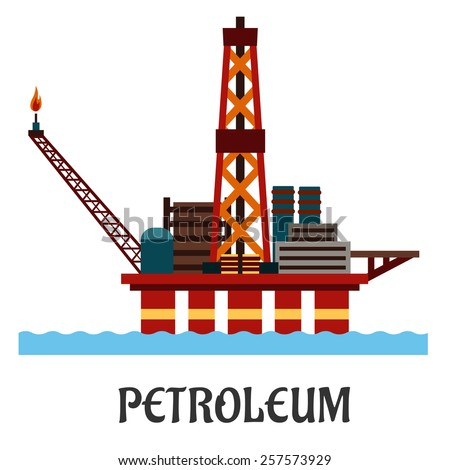 Petroleum industry flat concept showing oil offshore platform on hull columns in the ocean with derrick, cranes and workshop - stock vector