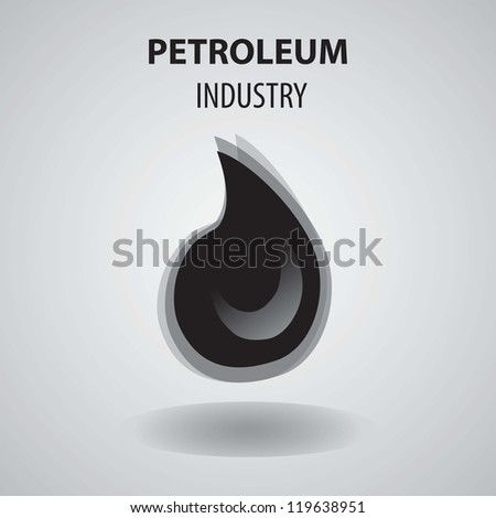 Petroleum Industry Icon, with grey background vector illustration. - stock vector
