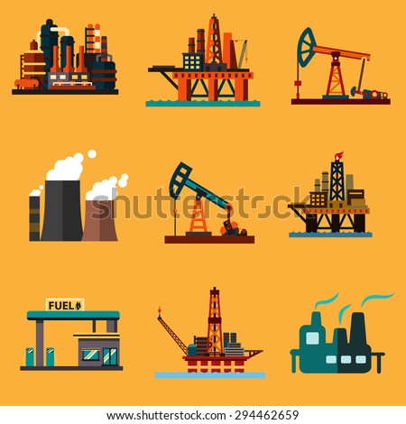 Petroleum industry icons in flat style with offshore oil platforms, oil pump jacks, oil refinery plants, thermal power plant and filling station - stock vector