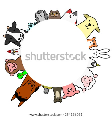 Pets  and livestock circle with copy space - stock vector