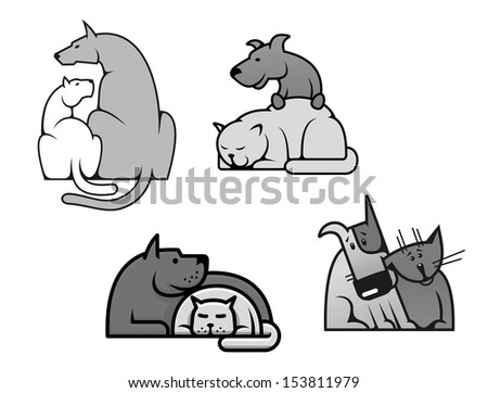 Pets friendship - dog and cat in cartoon mascot style or idea of logo. Jpeg version also available in gallery - stock vector