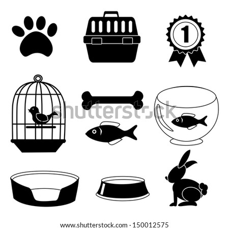 pets icons over white background vector illustration  - stock vector