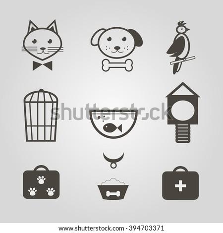 Pets icons. Set of mono symbols for pets shop. Vector illustration - stock vector