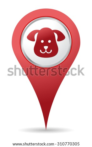 Pets location icon for maps - stock vector
