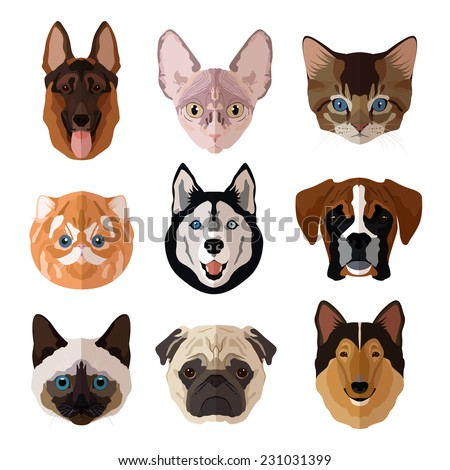 Pets portrait flat icons set with cats dogs kittens and puppies isolated vector illustration - stock vector