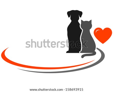 pets silhouettes, red heart and place for text - stock vector