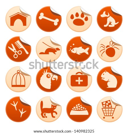 Pets stickers - stock vector